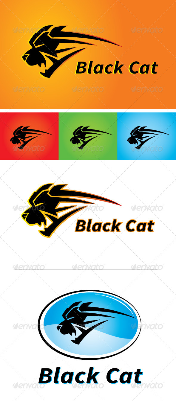 Black Cat Sports Apparel Logo - Animals Logo Templates