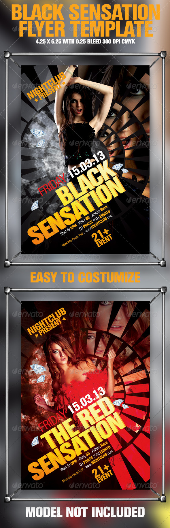 Black Sensation Flyer Template - Clubs & Parties Events