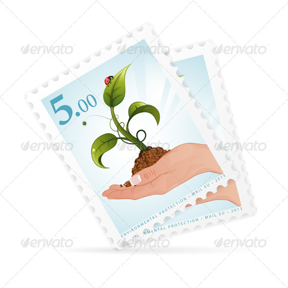 Postage Stamps with Hand and Sprout - Industries Business