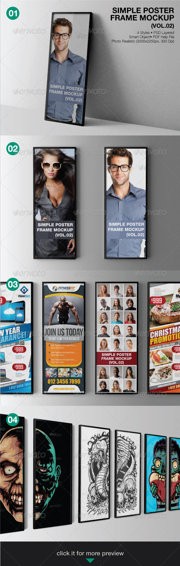 Simple Poster Frame Mockup (Vol.02) - Print Product Mock-Ups