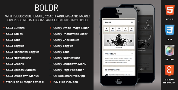 Boldr Mobile Retina | HTML5 & CSS3 and iWebApp