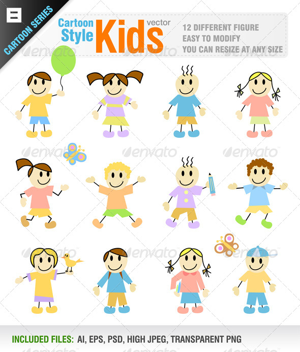 12 Cartoon Kid Characters - People Characters