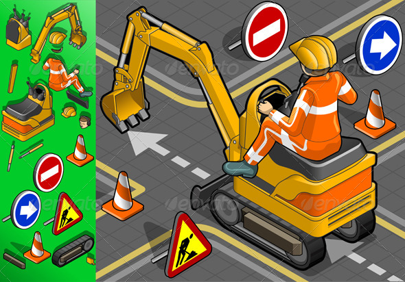 Isometric Mini Excavator with Man at Work - Objects Vectors