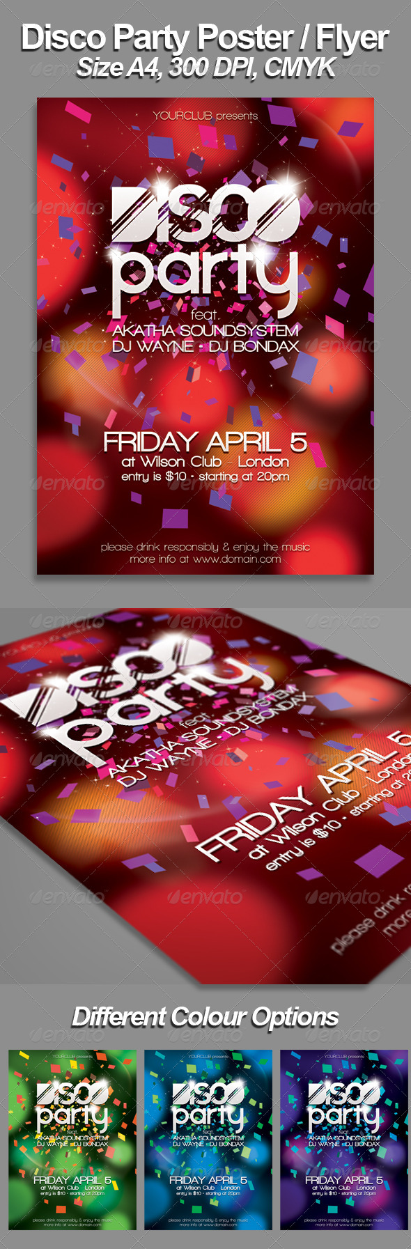 A4 Disco Flyer/Poster Template - Clubs & Parties Events