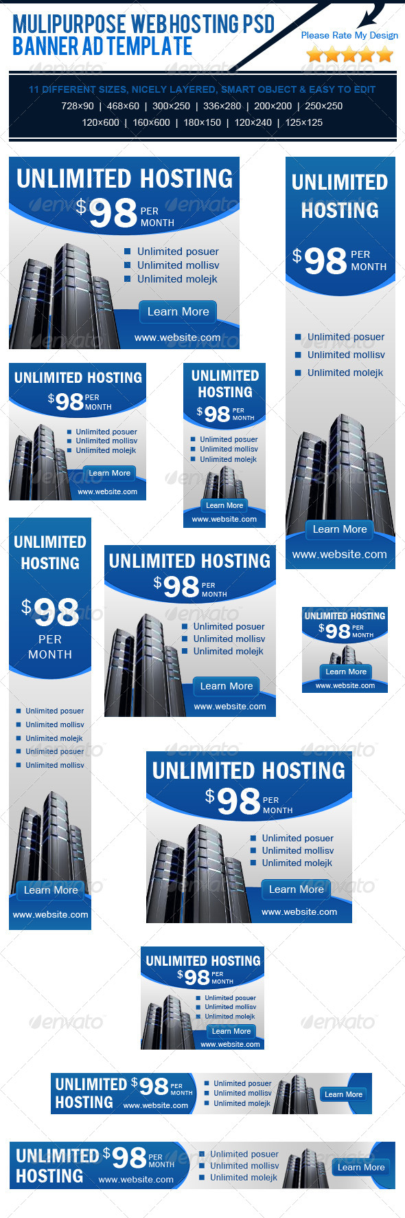 Multipurpose Web Hosting PSD Banner Ad Template - Banners & Ads Web Elements