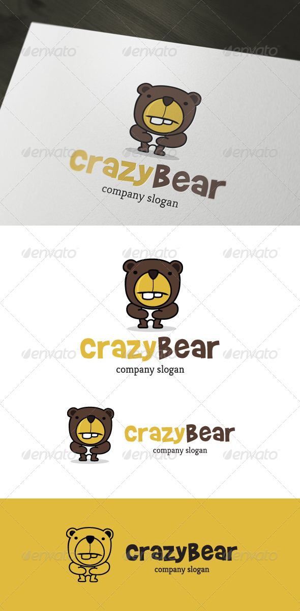 Crazy Bear Logo  - Animals Logo Templates