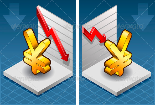 Isometric Symbol of Yen with Red Arrow Down - Conceptual Vectors