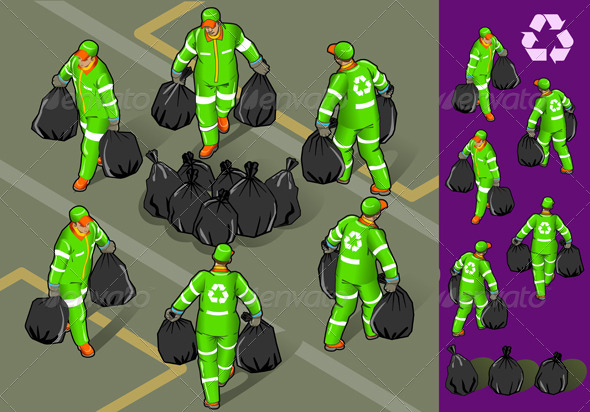 Isometric Set of Garbage Man in Six Position - Conceptual Vectors