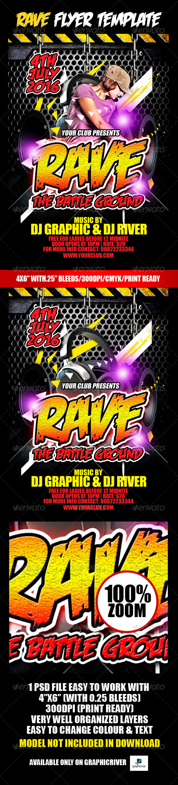 Rave Flyer Template  - Clubs & Parties Events