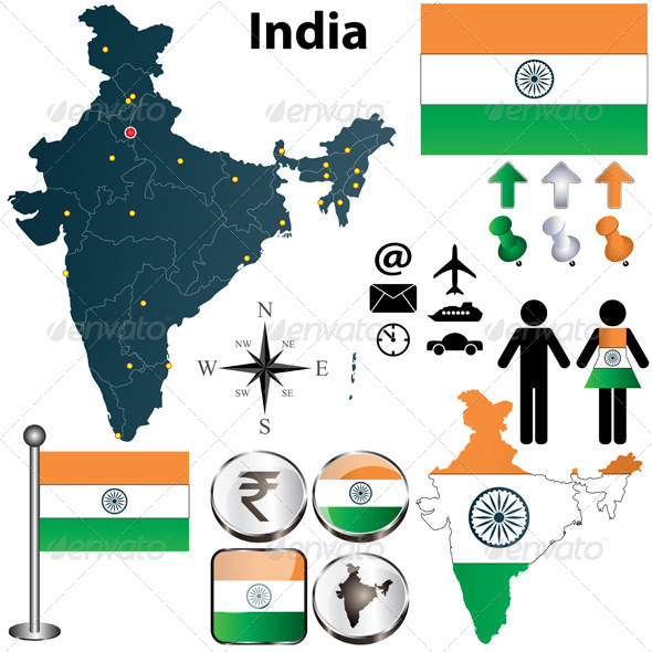 Map of India - Travel Conceptual