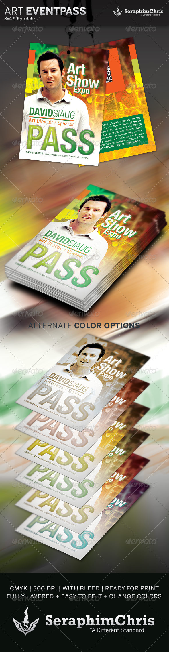 Art Show Event Pass Template - Miscellaneous Print Templates
