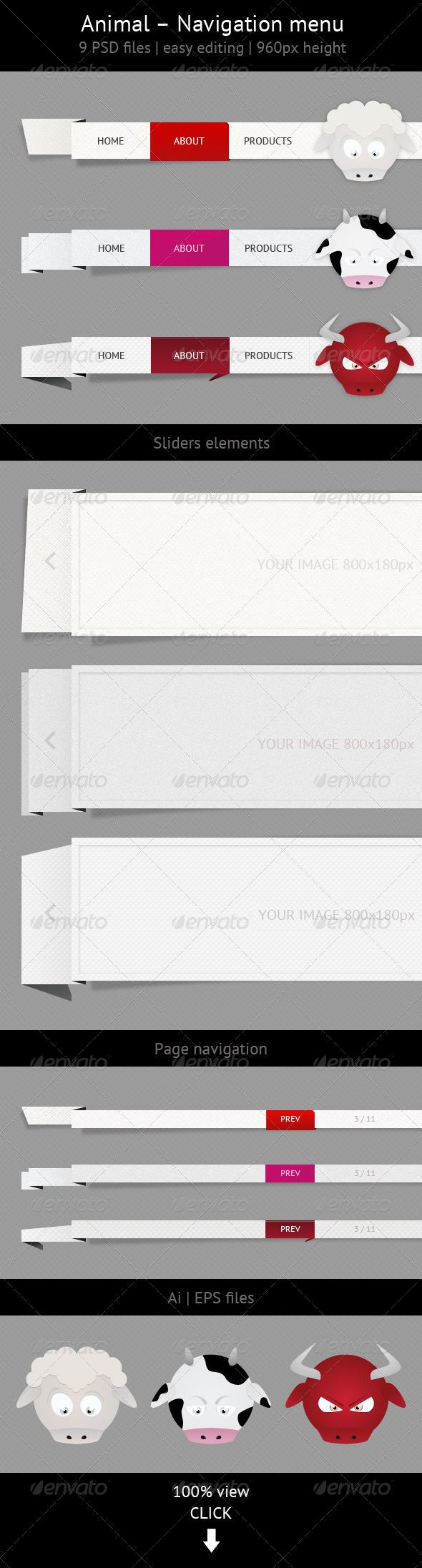 Animal - Navigation Menu Set - Navigation Bars Web Elements