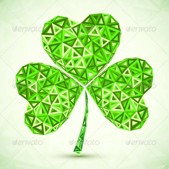 Green Abstract Vector Triangles Clover - Miscellaneous Seasons/Holidays