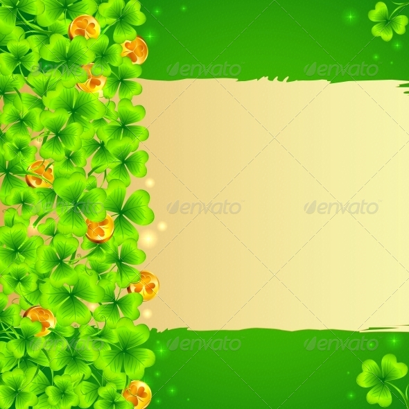 Green Clovers Background with Golden Coins - Miscellaneous Seasons/Holidays