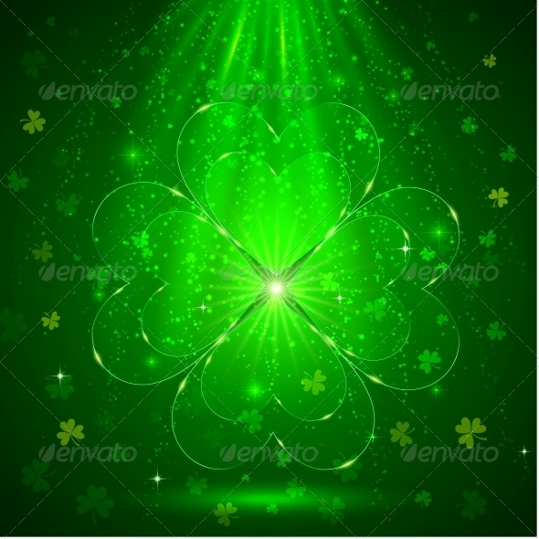 Green Glass Clover in the Light Background - Miscellaneous Seasons/Holidays