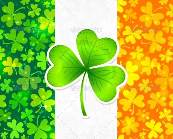 Irish Flag with Clovers - Miscellaneous Seasons/Holidays