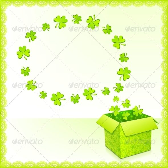 Green Paper Box with Clovers Greeting Card - Miscellaneous Seasons/Holidays