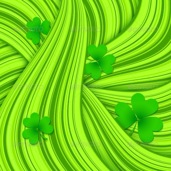 Green Hair Waves Abstract Background with Clovers - Miscellaneous Seasons/Holidays
