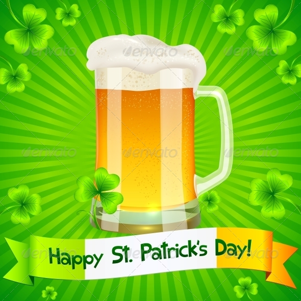 Patrick's Day Card with Pint of Light Beer - Miscellaneous Seasons/Holidays