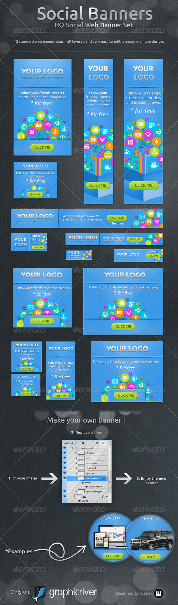 Social Banners - Social Web Banner Set - Banners & Ads Web Elements