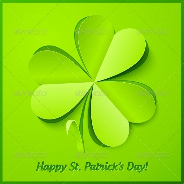 Green Paper Clover Patrick's Day Greeting Card - Miscellaneous Seasons/Holidays