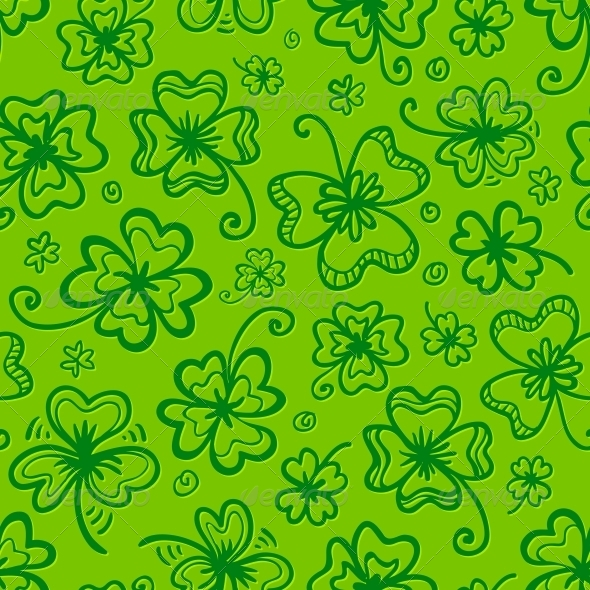 Green Hand Drawn Clovers Seamless Pattern - Miscellaneous Seasons/Holidays