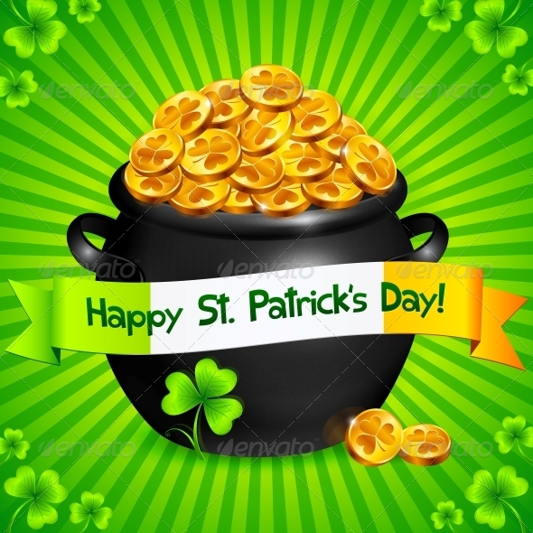 Black Pot of Leprechauns Gold with Lucky Clovers - Miscellaneous Seasons/Holidays