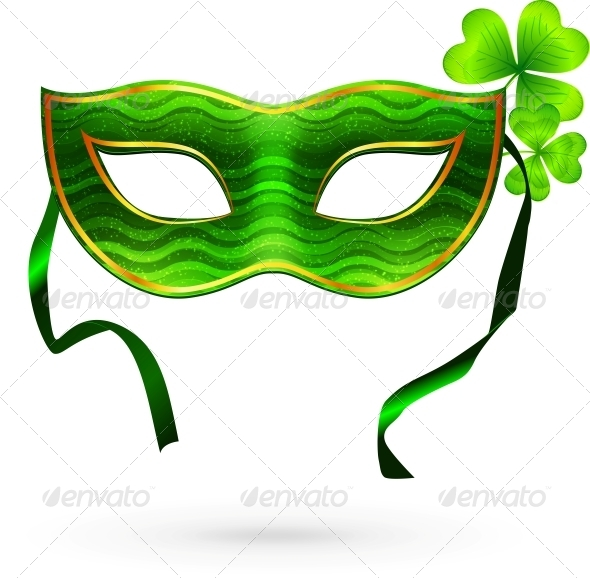 Green Carnival Mask with Clovers - Miscellaneous Seasons/Holidays