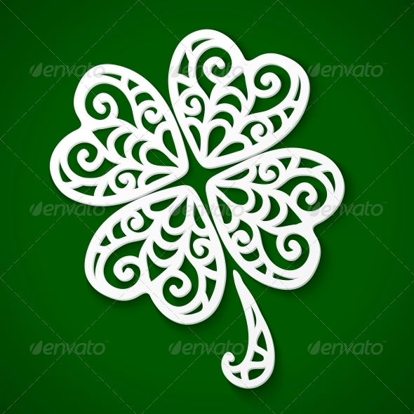 Ornate White Cut Out Clover by art_of_sun | GraphicRiver