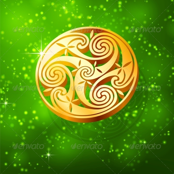 Magic Golden Triskel on Green Background - Miscellaneous Seasons/Holidays