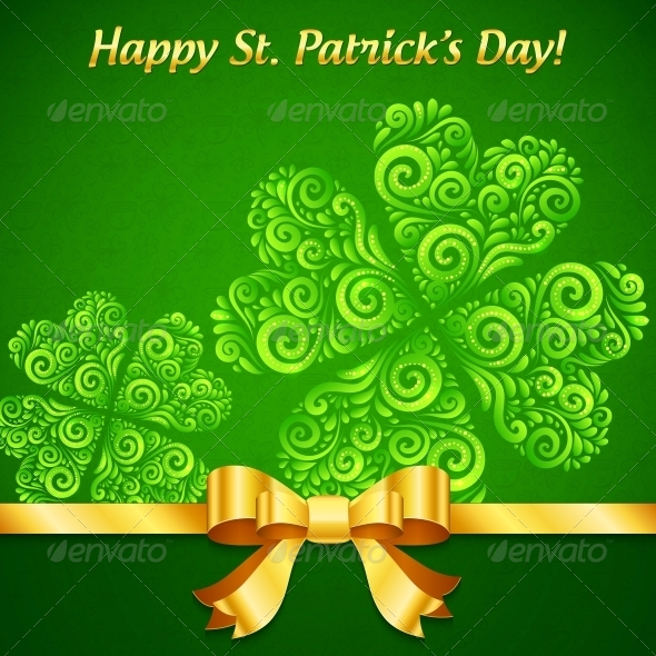Curved Ornate Clovers Green Patrick's Day Card - Miscellaneous Seasons/Holidays