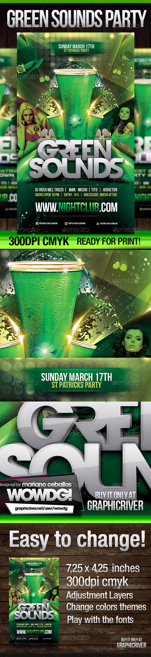 St. Patrick Green Sounds - Print Templates