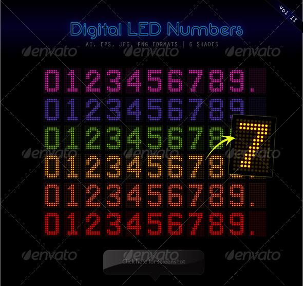 Digital LED Numbers - Decorative Symbols Decorative