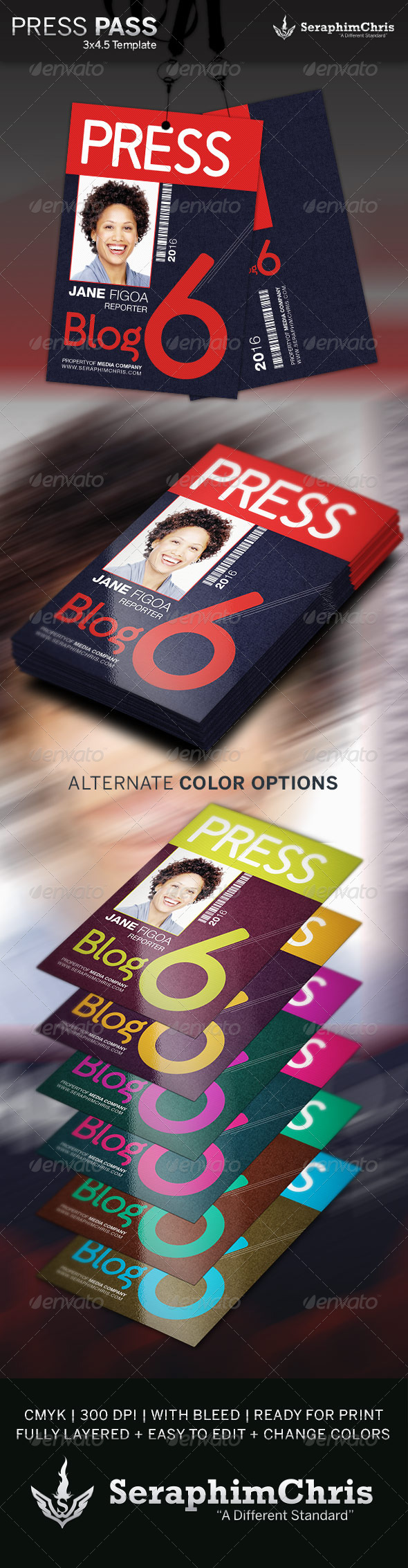 Press pass template 2 by seraphimchris graphicriver for Media pass template