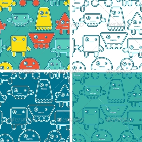 Cartoon Robots Seamless Patterns. - Computers Technology