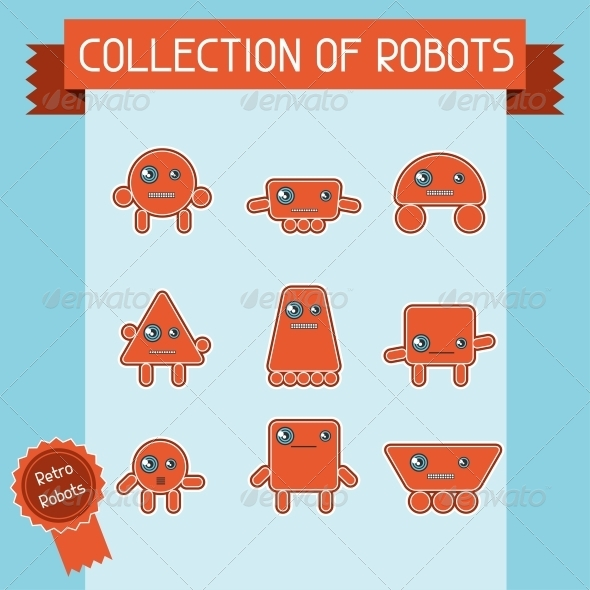 Little Abstract Robot Doodle Collection. - Retro Technology