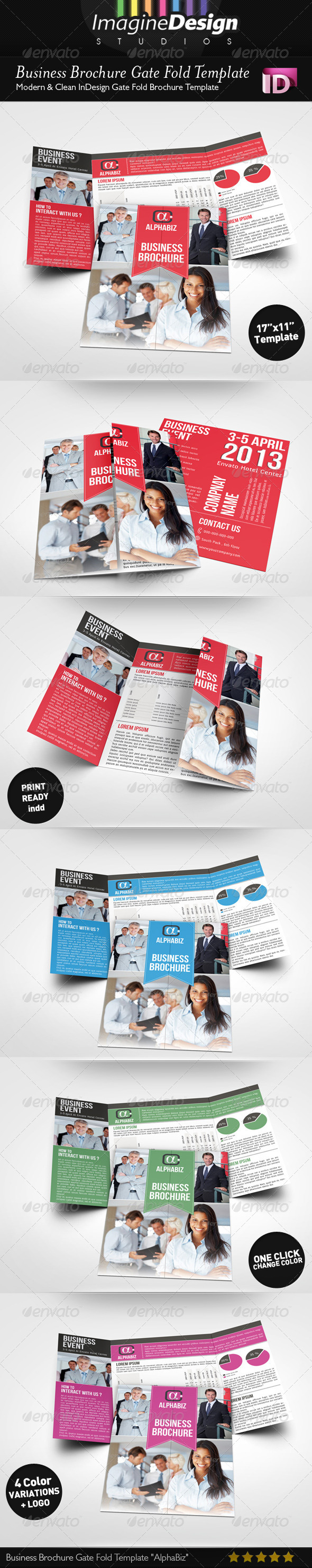 Business brochure gate fold template alphabiz by bagera for Gate fold brochure template indesign