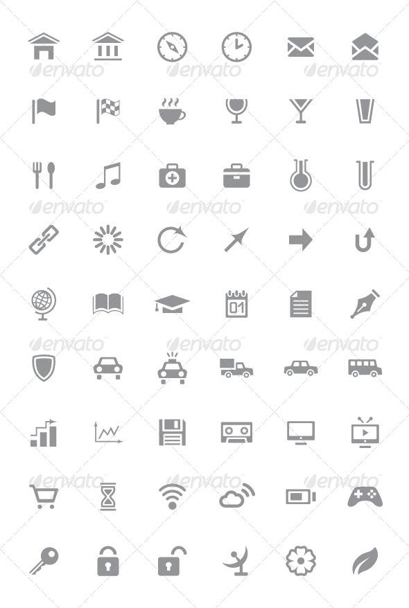 Icons and Pictograms Set - Web Elements Vectors