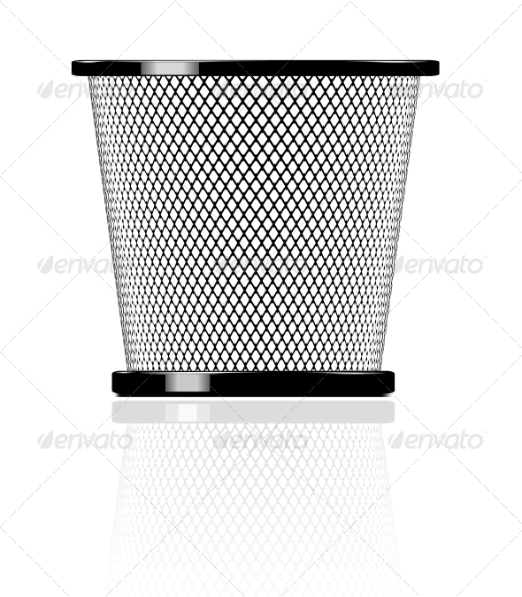 Realistic Glossy Trash Icon Illustration - Man-made Objects Objects