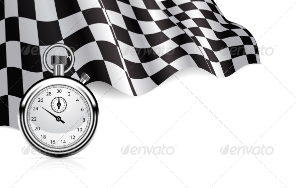 Checkered Flag with a Stopwatch Background - Backgrounds Decorative