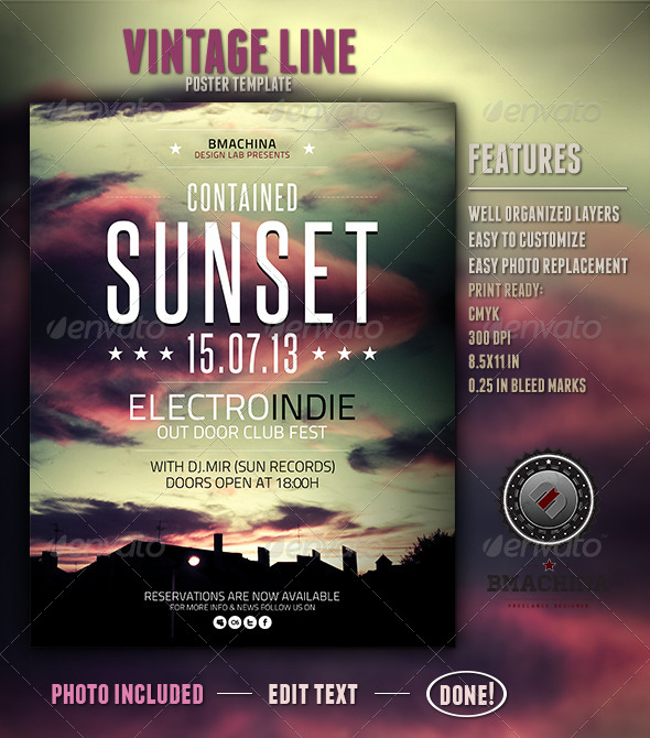Indie Poster Template - Contained Sunset - Clubs & Parties Events