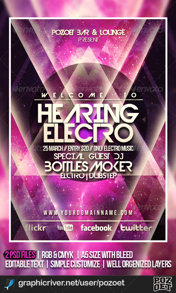 Futuristic Flyer/Poster Template - Clubs & Parties Events