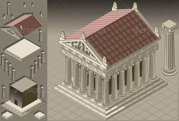 Isometric Greek Temple in Ionic Architecture - Buildings Objects