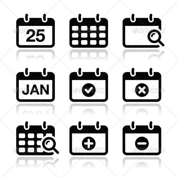 Calendar Date Vector Icons Set - Miscellaneous Conceptual