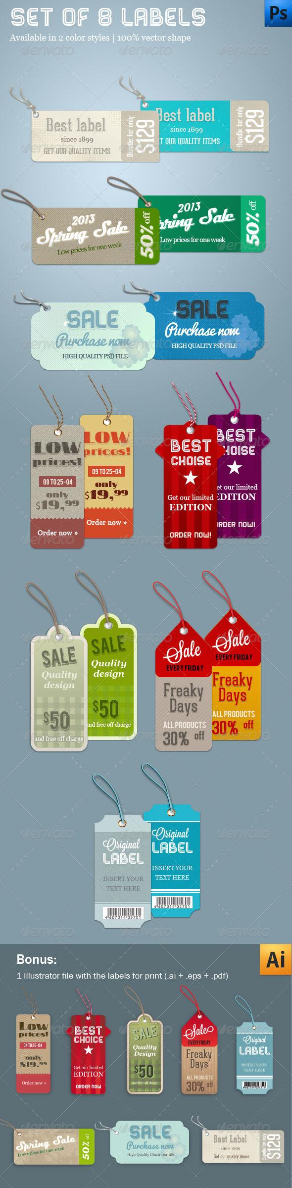 Set of 8 Labels - Badges & Stickers Web Elements