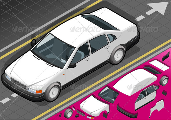 Isometric White Car in Front View - Objects Vectors