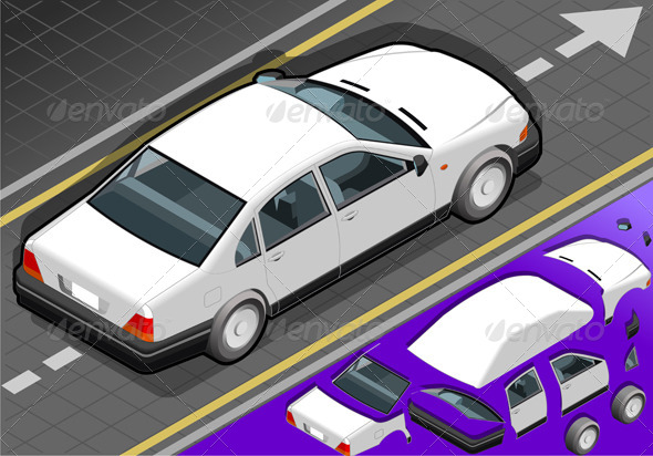 Isometric White Car in Rear View - Objects Vectors