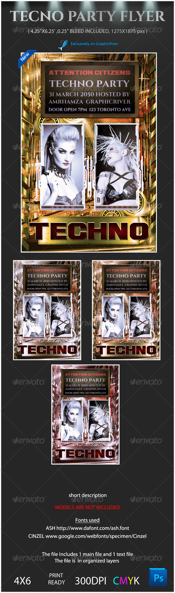Techno Party Flyer Template - Clubs & Parties Events
