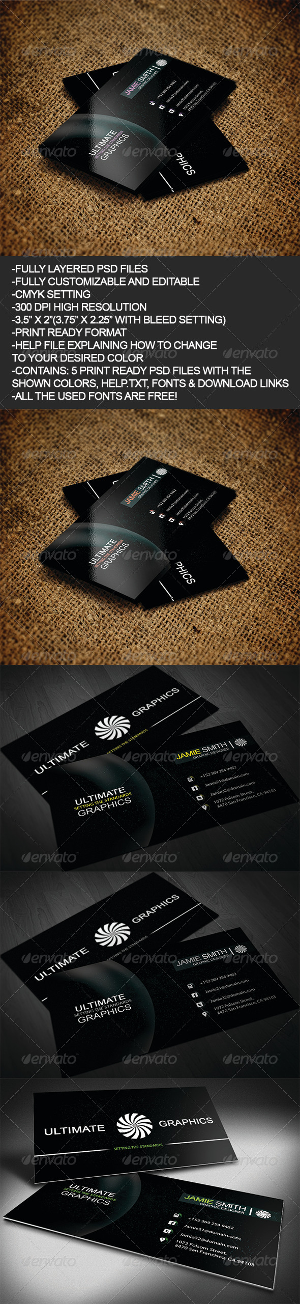 Black Sky - Business Cards Print Templates