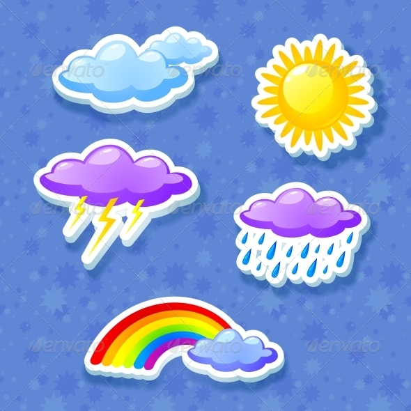 Colorful Weather Icon Set - Seasons Nature